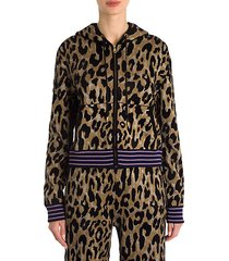 metallic leopard zip-up hoodie