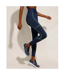 calça legging esportiva ace com micro furos e bolsos azul marinho