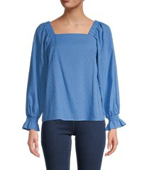 chenault women's puff sleeve blouse - french blue - size m