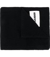 jil sander ribbed logo patch scarf - black
