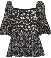 irene, 689 structure stretch blouses short-sleeved multi/mönstrad stine goya