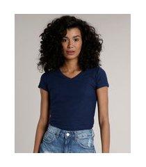camiseta flamê de algodão básica manga curta decote v azul marinho