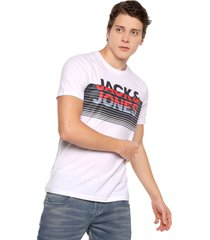 camiseta blanco-azul-rojo jack & jones