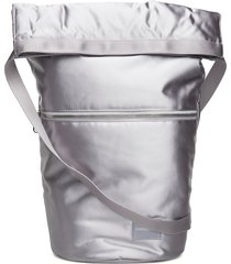 satin roll top hobo bags bucket bag zilver calvin klein