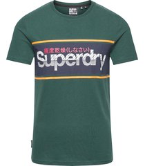 core logo stripe tee t-shirts short-sleeved grön superdry