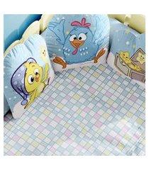 edredom mini cama quadriculado colorido gráo de gente azul