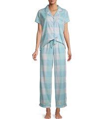 splendid women's 2-piece printed cotton-blend pajama set - pearl grey - size s