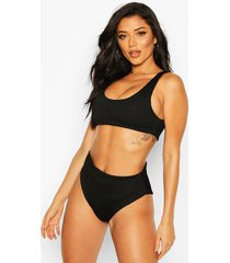 mix & match crinkle high waisted bikini brief, black