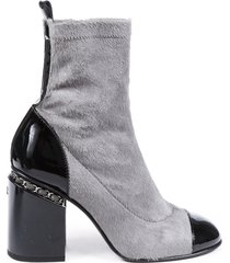 chanel calf hair cap toe ankle boots gray sz: 7