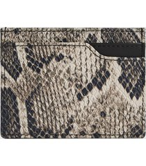 reiss charlie - snake printed card holder in black/white, mens