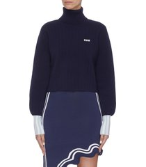 contrast cuff bishop sleeve cropped turtleneck sweater