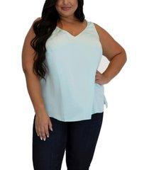 women's plus size double v neck silk tank