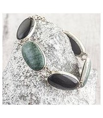 jade link bracelet, 'black and green tonalities' (guatemala)