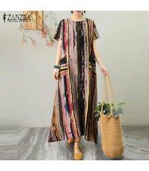 zanzea s-5xl vestido camiseta mujer kaftan vintage vestido largo étnico vestido camisero -marrón