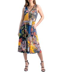 women's paisley sleeveless v-neck pocket midi dress
