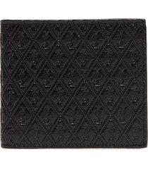monogram embossed leather bifold wallet