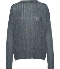 calby o-neck knit stickad tröja blå soft rebels