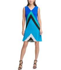 dkny v-neck pleated shift dress