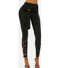 button ring detail lace panel skinny pants