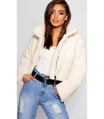 crop fleece oversized puffer jacket, cream