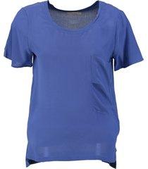 calvin klein soepel blauw zijden shirt