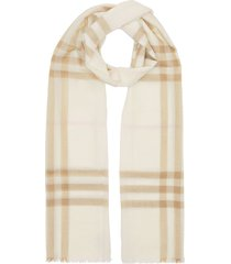 burberry lightweight check scarf - white