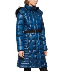 marc new york belted faux fur hooded down puffer coat