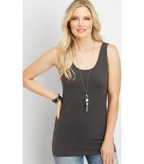 maurices womens basic scoop neck tank top gray