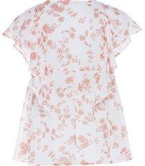 blouse met korte mouwen en ruches