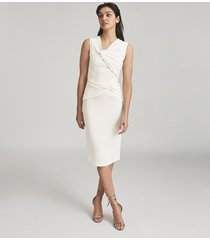 reiss alex - ruched bodycon dress in white, womens, size 14