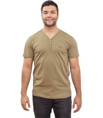 camiseta 4 ás manga curta flamê verde v com botões