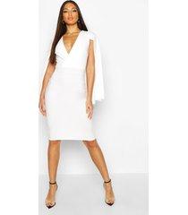 caped wrap midi dress, white