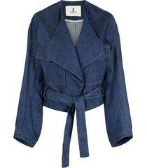 barena belted denim jacket - blue