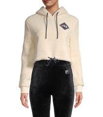 fila women's cropped faux fur hoodie - ecru - size m