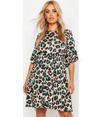 plus gesmokte luipaardprint jurk, crème