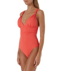 women's melissa odabash panarea one-piece swimsuit, size 10 - orange