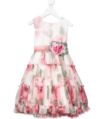 mimilù tiered floral party dress - pink