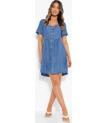 gesmokte chambray jurk met kapmouwen, blue