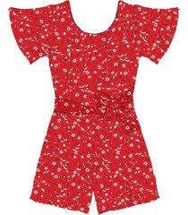 macaquinho feminino floral endless vermelho - vermelho - feminino - dafiti
