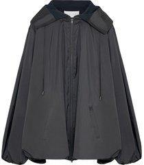 fenty draped taffeta hooded dress - black