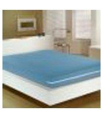 capa para colchão solteiro malha 100% algodão com zíper azul portallar