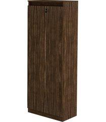 armário estante alta com portas me4151 tecno mobili nogal