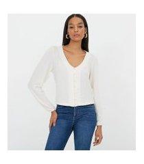 blusa em crepe lisa com botões de pérola | a-collection | branco | g