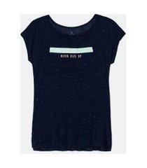 camiseta esportiva em viscose botonê estampa frase | get over | azul | p