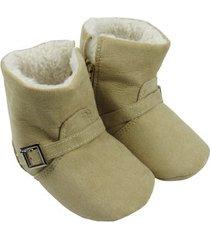 bota bebê masculina camurça e pelúcia cáqui-g