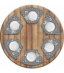 jogo americano love decor para mesa redonda wevans geometric black kit com 6 pçs