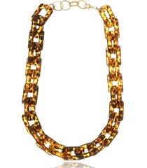 colar le diamond elos quadrados tartaruga - marrom - feminino - dafiti