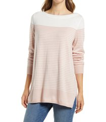 caslon(r) women's colorblock stripe sweater, size medium in pink placed stripe at nordstrom