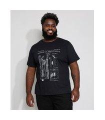camiseta masculina plus size guitarras manga curta gola careca preta