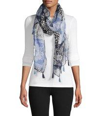 la fiorentina women's paisley-print tassel scarf - blue